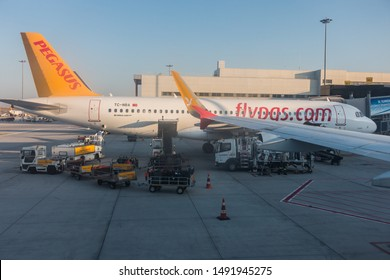 ISTANBUL, TURKEY - AUGUST, 2019: Sabiha Gökçen International Airport. Pegasus Airlines aircraft in the apron