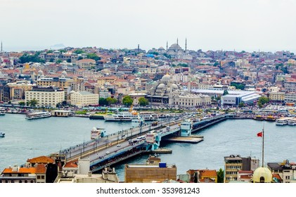 ISTANBUL, TURKEY, AUGUST 21, 2014: aerial view of golden horn bay in turkish capital istanbul