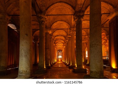 Istanbul, Turkey - August 21, 2018: Illuminated columns of the Basilica Cistern on  August 21, 2018 in Istanbul, Turkey.