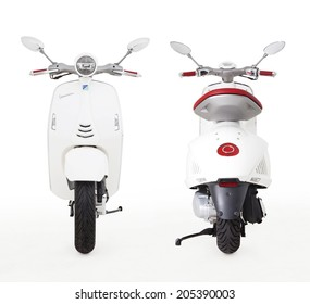 Istanbul, Turkey - August 22, 2013: A Vespa 946 Motorcycle is produced by Piaggio & Co. S.p.A. in Italy. This Vespa 946 motorcycle has 150cc engine, traction control system and ABS brakes.