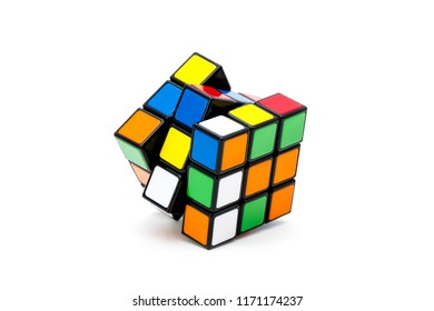 ISTANBUL - TURKEY - AUGUST 22, 2018: Rubik's cube on the black background. Rubik's Cube invented by a Hungarian architect Erno Rubik in 1974.