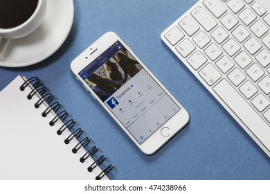 ISTANBUL, TURKEY - AUGUST 25, 2016: Brand new Apple iPhone 6 with Facebook profile on the screen. Facebook is a social media online service for microblogging and networking communication.