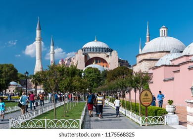ISTANBUL, TURKEY, AUGUST 27, 2018: People walking at Sultanahmet Square, Hagia Sophia can be seen at the background. Sultanahmet District is the heart of old Istanbul.