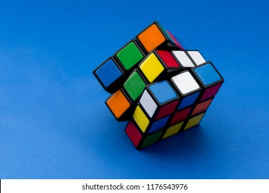 ISTANBUL - TURKEY - AUGUST 27, 2018: Rubik's cube on the black background. Rubik's Cube invented by a Hungarian architect Erno Rubik in 1974.