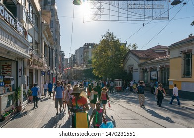 Istanbul, Turkey - August 28, 2013: Crowd of people on famous Istiklal street in Beyoglu suburb of Istanbul