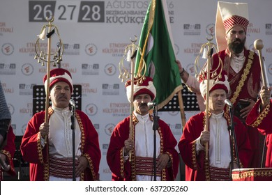ISTANBUL, TURKEY - August 28, 2016: Ottoman military band Mehter Etnospor Cultural Festival is about old ottoman turkish cultural activites from Kucukcekmece, Istanbul, Turkey.