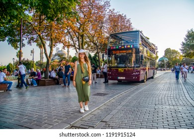 ISTANBUL, TURKEY - August 28 2018 : The Blue Mosque, (Sultanahmet Camii) square and Woman tourist  , Istanbul