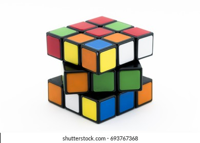 ISTANBUL - TURKEY - AUGUST 3, 2017: Rubik's cube on the white background. Rubik's Cube on a white background. Rubik's Cube invented by a Hungarian architect Erno Rubik in 1974.