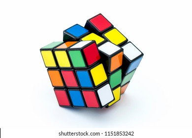 ISTANBUL - TURKEY - AUGUST 3, 2018: Rubik's cube on the black background. Rubik's Cube invented by a Hungarian architect Erno Rubik in 1974.