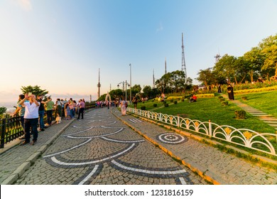 ISTANBUL, TURKEY - AUGUST 3, 2018: CAMLICA HILL (Turkish: Buyuk Camlica Tepesi). Camlica Hill is the highest point in Istanbul offering incredible views of Bosphorus.