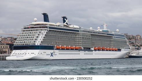 ISTANBUL, TURKEY - AUGUST 30, 2014: Celebrity Reflection cruise ship in Istanbul port. Ship has 3,046 passenger capacity with 125.366 Gross tonnage.