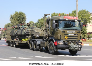 ISTANBUL, TURKEY - AUGUST 30, 2015: Military vehicle during 93th anniversary of 30 August Turkish Victory Day parade on Vatan Avenue