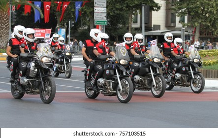 ISTANBUL, TURKEY - AUGUST 30, 2015: Mobilized police forces march during 95th anniversary of 30 August Turkish Victory Day parade on Vatan Avenue