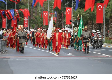 ISTANBUL, TURKEY - AUGUST 30, 2015: Ottoman military band Mehter march during 95th anniversary of 30 August Turkish Victory Day parade on Vatan Avenue