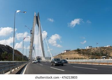 ISTANBUL, TURKEY - AUGUST 30, 2016: Traffic on Yavuz Sultan Selim Bridge. Istanbul's mega project this Bridge was opened on 26 August 2016. The bridge is the tallest suspension bridge in the world.