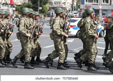ISTANBUL, TURKEY - AUGUST 30, 2017: Soldiers march during 95th anniversary of 30 August Turkish Victory Day parade on Vatan Avenue