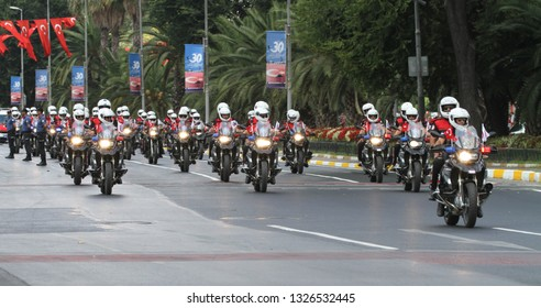 ISTANBUL, TURKEY - AUGUST 30, 2018: Mobilized police forces march during 96th anniversary of 30 August Turkish Victory Day parade on Vatan Avenue