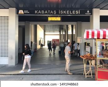 Istanbul, Turkey - August 30, 2019: Passengers in terminal of Kabatas Seaport