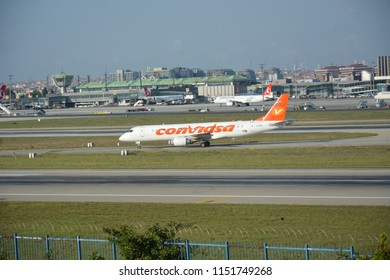 ISTANBUL, TURKEY - AUGUST 5, 2018: Conviasa Embraer Lineage 1000 (YV3016) taking off from Istanbul Ataturk Airport