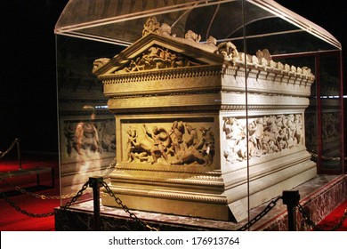 ISTANBUL, TURKEY - AUGUST 7: Great Alexander's Sarcophagus in Istanbul Archaeology Museum on August 7, 2005 in Istanbul, Turkey. Museum over one million objects that represent almost all of the eras.