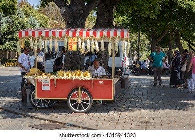 ISTANBUL, TURKEY, AUGUST 9,2018: unidentified seller at a food s