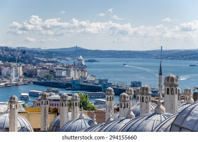 Istanbul, Turkey. Auxiliary Building Suleymaniye Mosque (1557) against the background of the Golden Horn and the Bosporus