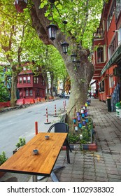 ISTANBUL, TURKEY: Beautiful decoration of street cafe in Kuzguncuk district with flowers and lanterns on May 5, 2018