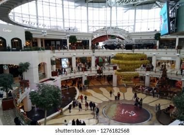 Istanbul, Turkey.  Big shopping center in Istanbul, Istinye park. 4 January 2019.