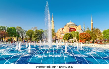 Istanbul, Turkey. The Blue Mosque, (Sultanahmet Camii), iconic landmark in Istanbul. Beautiful spring scenery with fountain at the foreground and famous touristic destination Sultanahmet Camii.