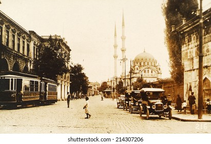 ISTANBUL, TURKEY - CIRCA 1900's :Vintage cityscape of Istanbul,old Kabatas District.Turkey, circa 1900s.