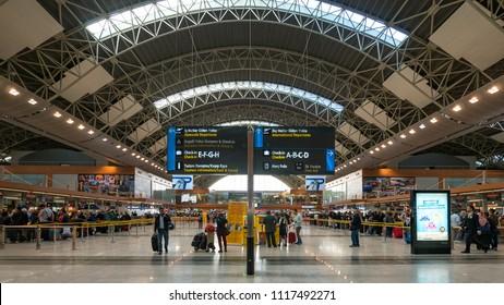ISTANBUL, TURKEY - CIRCA APRIL, 2018: Sabiha Gokcen International Airport interior view.