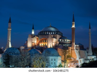 Istanbul, Turkey - Circa December 2017 - The exterior shot of Hagia Sofia Museum during magic hour with beautiful blue sky background from the rooftop of a nearby hotel in Istanbul, Turkey