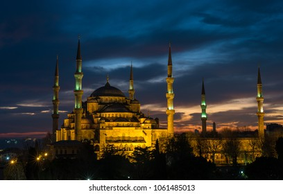 Istanbul, Turkey - Circa December 2017 - The exterior shot of the Sultan Ahmet Mosque aka the Blue Mosque just after sunset taken from the rooftop of a hotel nearby in Turkey, Istanbul