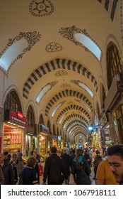 Istanbul, Turkey - Circa December 2017 - An interior shot of the famous Istanbul Spice Bazaar with unidentified local and foreign visitors