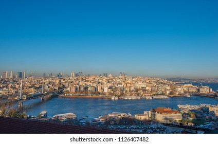 Istanbul, Turkey - Circa December 2017 - A panoramic shot of Istanbul cityscape (Karakoy side) taken from the rooftop of one of the nearby restaurants next to Suleymaniye Mosque
