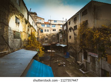 Istanbul, Turkey - Circa December 2017 - A perspective shot from the back of the house of old and historical buildings in Istanbul, Turkey