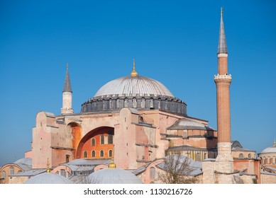 Istanbul, Turkey - Circa December 2017 - A close up and exterior shot of Hagia Sofia Museum which is a famous Ottoman architecture building in Istanbul