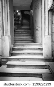 Istanbul, Turkey - Circa December 2017 - A black and white shot of steps from the street level constructed right into the store in Istanbul, Turkey