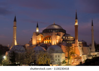 Istanbul, Turkey - Circa December 2017 - The exterior shot of Hagia Sofia Museum which is a fsmous Ottoman architecture during sunset in Istanbul, Turkey