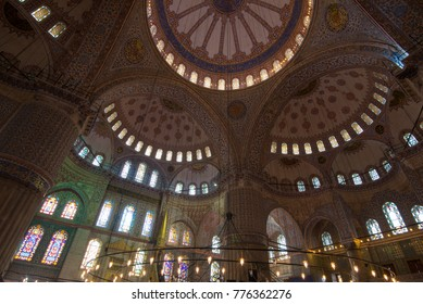 Istanbul, Turkey - Circa December 2017 - An interior shot of the Sultan Ahmet Mosque popularly known as the Blue Mosque which is one of the major tourist attractions in Istanbul, Turkey