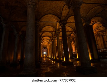 Istanbul, Turkey - Circa December 2017 - The interior showing forest of columns in the Basilica Cistern also known as Yerebatan Sarnici that lie beneath the city of Istanbul, Turkey