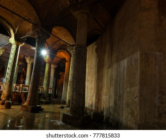 Istanbul, Turkey - Circa December 2017 - The interior shot showing forest of columns in the Basilica Cistern also known as Yerebatan Sarnici that lie beneath the city of Istanbul, Turkey