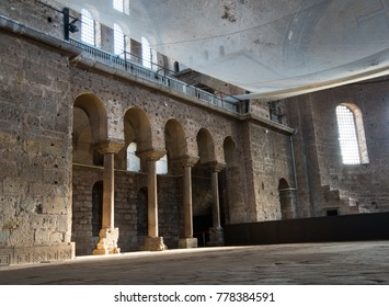 Istanbul, Turkey - Circa December 2017 - The interior shot inside the Hagia Irene Museum located outside of the courtyard of Topkapi Palace in Istanbul showing a hall space with a stage