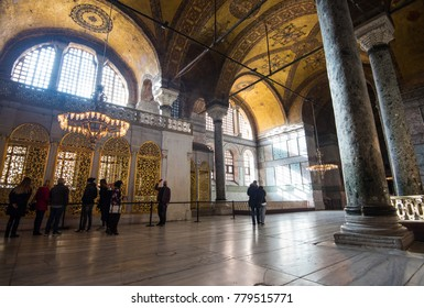 Istanbul, Turkey - Circa December 2017 - The interior shot of the upper level of the Hagia Sophia Museum with high ceiling dome located in Sultanahmet area in Istanbul