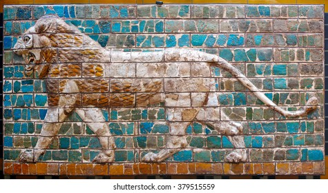 ISTANBUL, TURKEY - CIRCA OCTOBER 2008: Lion on Ancient Babylonian mosaic, fragment of the Ishtar Gate in Archaeological museum, Istanbul, Turkey.