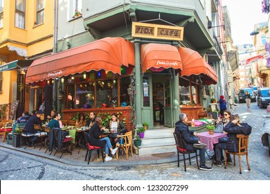 ISTANBUL, TURKEY: Colorful cafe at Balat which is a historic neighbourhood of Istanbul, very popular touristic place, on October 27, 2018