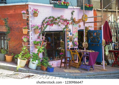 ISTANBUL, TURKEY: Colorful shop of souvenir at Balat which is a historic neighbourhood of Istanbul located on the shore of Golden Horn on October 27, 2018