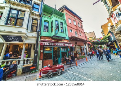 ISTANBUL, TURKEY: Colorful street and popular cafe at Balat which is a historic neighbourhood of Istanbul located on the shore of Golden Horn on October 20, 2018