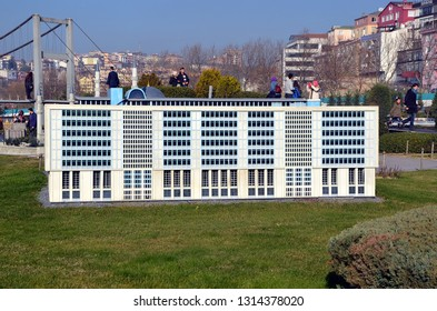 ISTANBUL, TURKEY - DEC 27, 2015 - Scale model of Istanbul Metropolitan Municipality office building at Miniaturk park in Istanbul, the largest miniature park in the world
