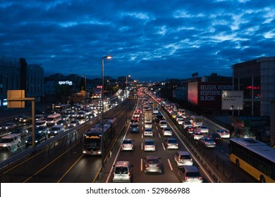 ISTANBUL, TURKEY - DECEMBER 01, 2016:Bahcelievler district in istanbul sunrise.Traffic jam at E-5 Highway in Istanbul European Side on DECEMBER 01, 2016 in Istanbul, Turkey